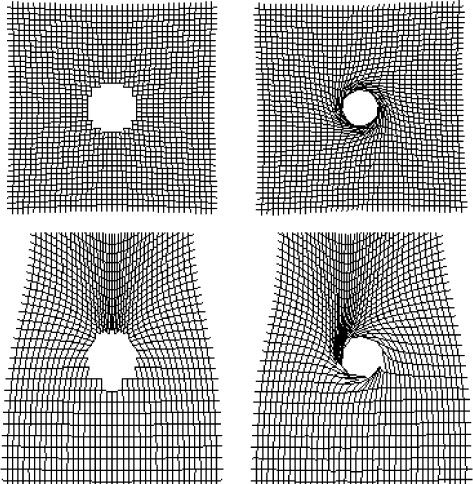 Projection of a uniform Cartesian grid in the image plane onto the source plane of the accretion disk