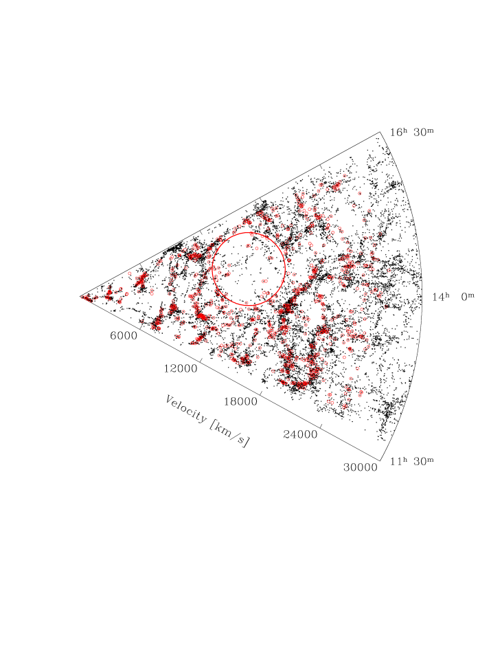 Sky map showing the region considered in this study. The red rectangle denotes the area covered by the KR2 survey (RA range 11
