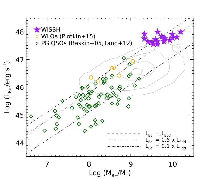 Bolometric luminosity as a function of BH mass for the WISSH sample, compared to PG QSOs from