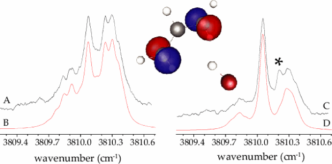 Field-free (A) and Stark (C) spectra for the HF-Allyl radical complex, and the corresponding simulations, (B) and (D), respectively. The peak marked with an asterisk corresponds to a known impurity which overlaps at this frequency.