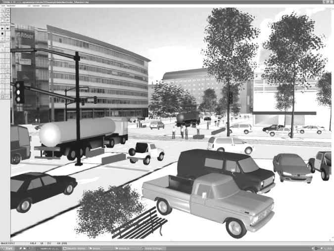 A screenshot of the VISSIM microscopic traffic flow simulator, showing a detailed virtual environment containing trees, buildings, pedestrians, …(image reproduced after