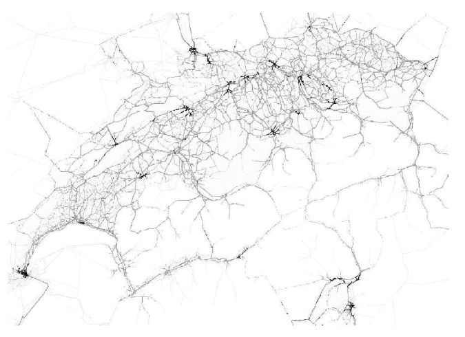 An example of a multi-agent simulation of the road network of Switzerland, around 08:00 in the morning: each vehicle is indicated by a single grey pixel, with low-speed vehicles coloured black. The image clearly reveals more vehicular activity (and congestion) in the city centres than elsewhere in the country (image reproduced after