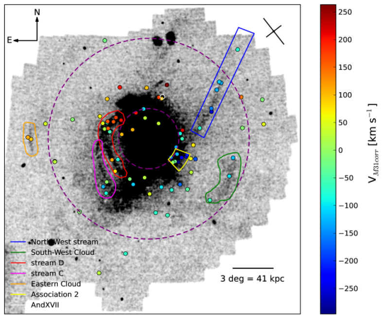 The metal-poor stellar density map of M31 from PAndAS. Points are as in Figure