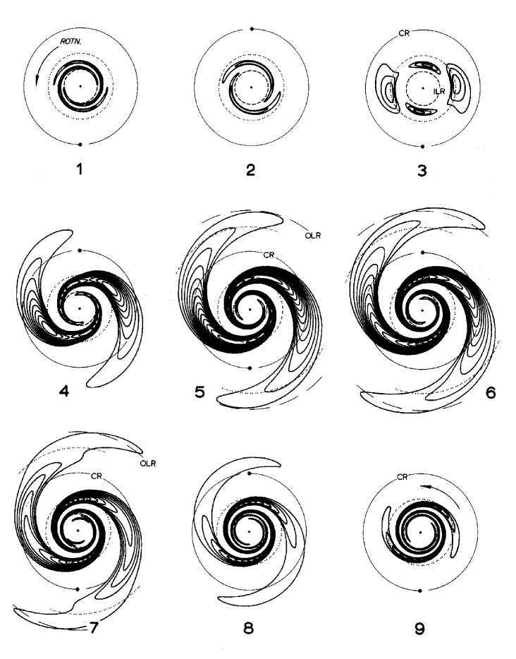 The time evolution of an input leading wave packet in the half-mass Mestel disk. The unit of time is half a circular orbit period at the radius marked corotation. From Toomre 1981.