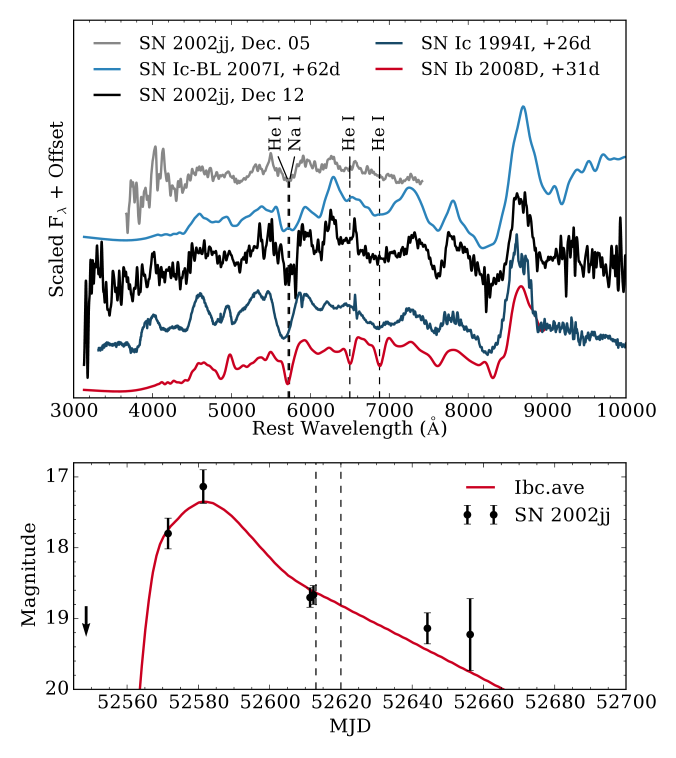 Top: spectra of SN2002jj, smoothed by a 40ÅGaussian kernel and compared to spectra of the Type Ic-BL SN2007I