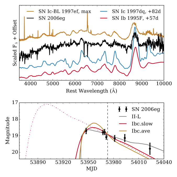 Top: spectrum of SN2006eg (smoothed with a 20ÅGaussian kernel) compared to that of the SNIc-BL 1997ef, SNIc 1997dq, and SNIb 1995F
