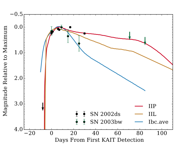 Unfiltered light curves for two SNe for which we have not been able to collect spectra, along with template light curves from L11 for comparison. Upper limits are shown with arrows. For SN2002ds, the CBET classification of a Type II SN with a hydrogen-recombination plateau is robustly supported. The light curve of SN2003bw appears to match the stripped-envelope template from L11 better than the Type II templates, but the data are noisy and are consistent with either classification. SN2006bv (not shown) was likely a SN impostor; see