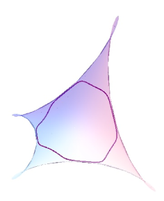 A closed curve with constant non-zero geodesic curvature in a maximal Enneper surface, shown in both smaller and larger portions of the surface. This curve avoids the singular set of the surface.