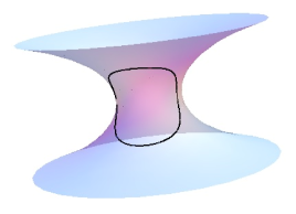 The first curve has constant non-zero geodesic curvature on the catenoid, whereas the second closed curve has geodesic curvature proportional to