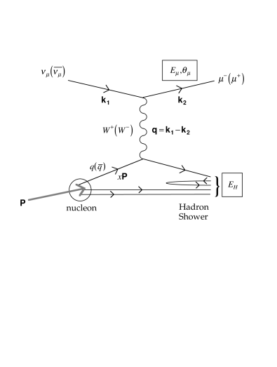 The first order Feynman diagram for deep inelastic neutrino scattering