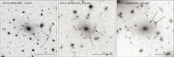 From Menanteau et al. (2010): Close-up monochrome images of examples of strong-lensing arcs in three clusters in the ACT sample.