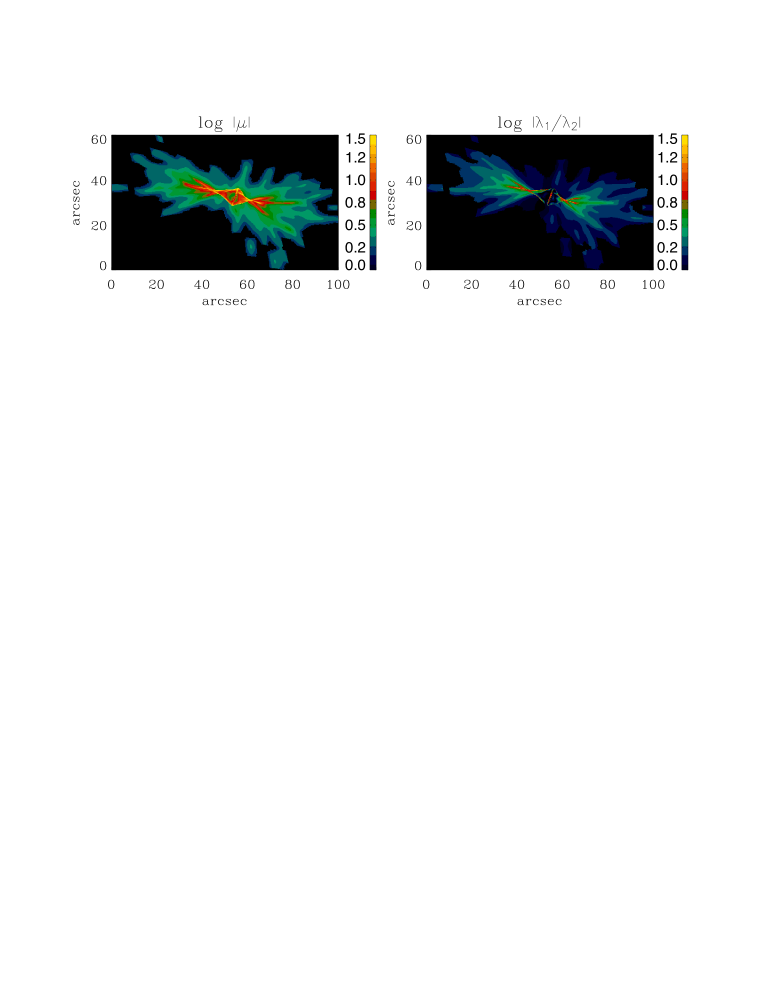 Maps of absolute magnification (left panel) and eigenvalue ratios (right panel) for a dark matter halo taken from N-body simulations. Figure from