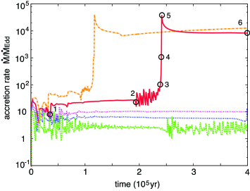 Accretion rate history for a higher-mass BH (in the outer region). The curves show the cases for