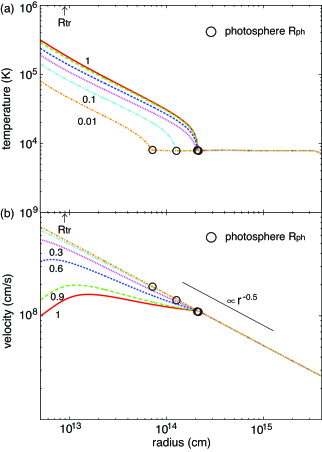 The profile of the (a) gas temperature and (b) inflow velocity at the end of the simulation for