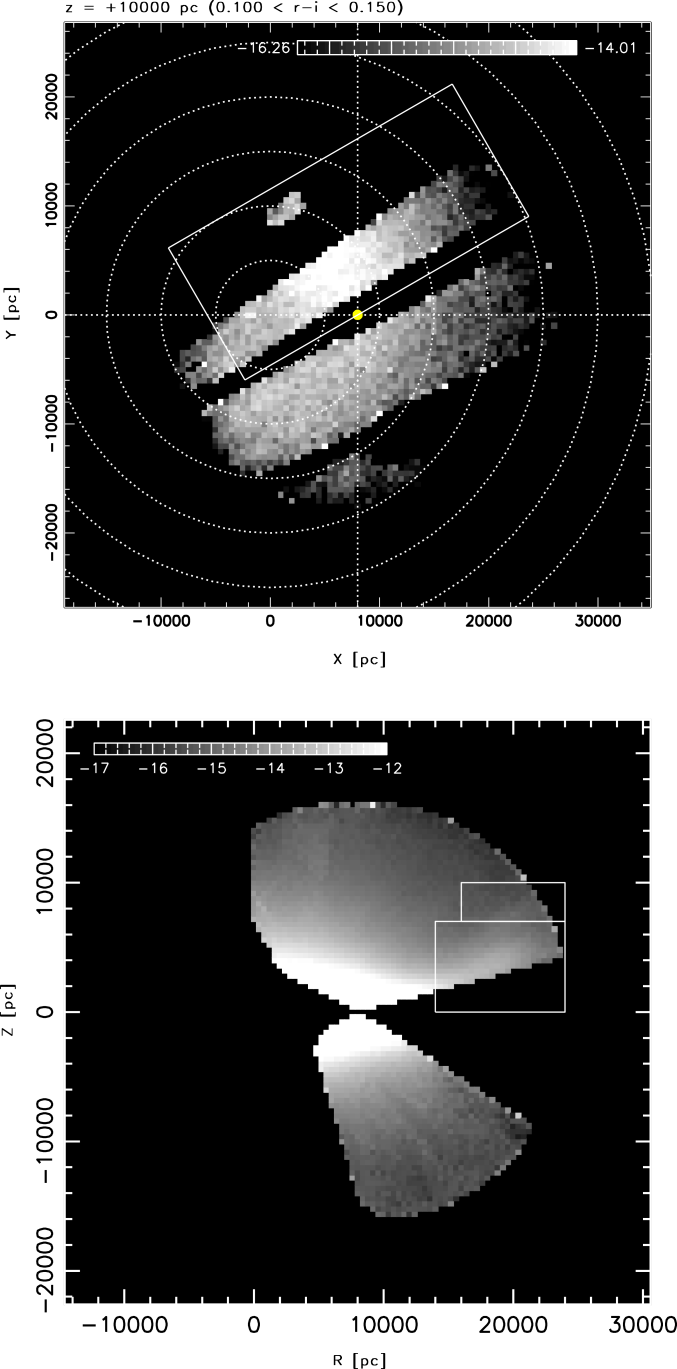 The regions with large overdensities excluded from Galactic model fits. The pixels within the rectangle in the top panel are excluded to avoid contamination by the Virgo overdensity (Section