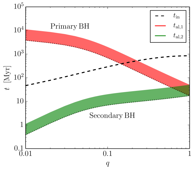 Comparison between the alignment times and the inspiral time as a function of the binary mass ratio