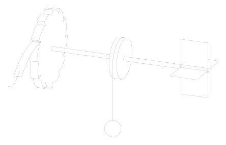 Ratchet and pawl. The ratchet is connected by an axle with the paddles and with a spool, which may lift a load. In the absence of the pawl (leftmost object) and the load, the random collisions of the surrounding gas molecules (not shown) with the paddles cause an unbiased rotatory Brownian motion. The pawl is supposed to rectify this motion so as to lift the load.