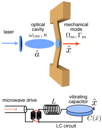Schematic of a generic optomechanical system, both in the optical domain (top), with a laser-driven optical cavity and a vibrating end mirror, as well as in the microwave domain (bottom), with a vibrating capacitor. Here we have depicted a microwave drive entering along a transmission line that is inductively coupled to the LC circuit representing the microwave resonator.