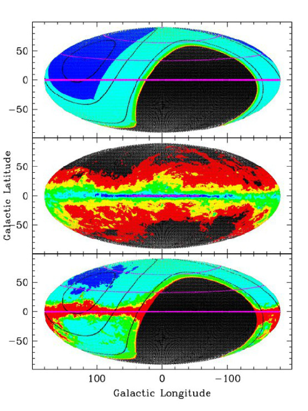 (Top) Visibility from OAJ. (Red, yellow, green, cyan, blue) correspond to visibilities greater than (0, 30, 100, 300, 1000) hours/year. Magenta lines represent galactic latitudes