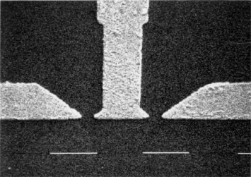 Scanning electron micrographs of nanostructures in GaAs-AlGaAs heterostructures. (a, top) Narrow channel (width 75 nm), fabricated by means of the confinement scheme of Fig.