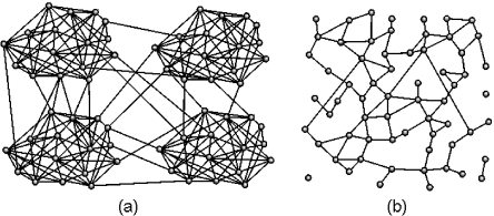 (a) An example of a random network with community structure formed by