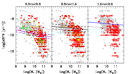 Specific star-formation rate versus stellar masses in three redshift bins for the host galaxies of type–2 AGN compared to normal galaxies from the i-band-apparent-magnitude-matched sample (gray points). The solid lines are the correlations found for blue star-forming galaxies: the purple one in the lowest redshift bin corresponds to z