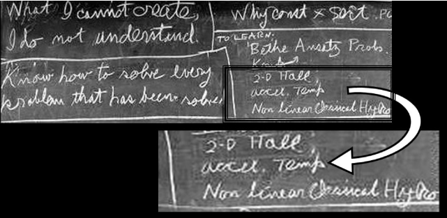 """Part of Feynman's blackboard at California Institute of Technology at the time of his death in 1988. At the right-hand side one can find """"accel. temp."""" as one of the issues """"to learn""""."""