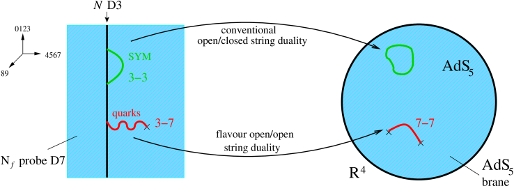Schematic representation of the AdS/CFT duality with added flavour. In addition to the original AdS/CFT duality, open string degrees of freedom representing quarks are mapped to open strings beginning and ending on the D7 probe, which asymptotically near the boundary wrap