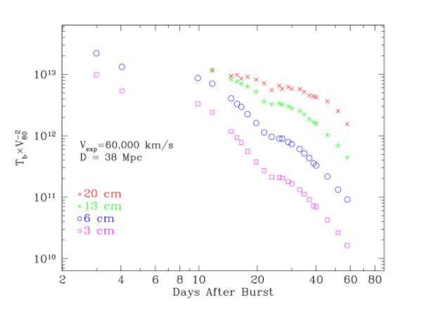 The evolution of the brightness temperature of radio SN 1998bw, the most luminous RSN ever recorded. The brightness temperature is computed under the assumption that the radio photosphere expanded with the same velocity inferred from optical spectroscopy (