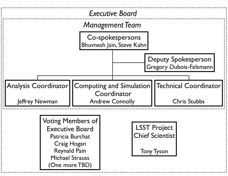 LSST Dark Energy Science Collaboration organizational chart with interim leadership team. The Executive Board consists of five voting members, the management team, and the LSST Project Chief Scientist.