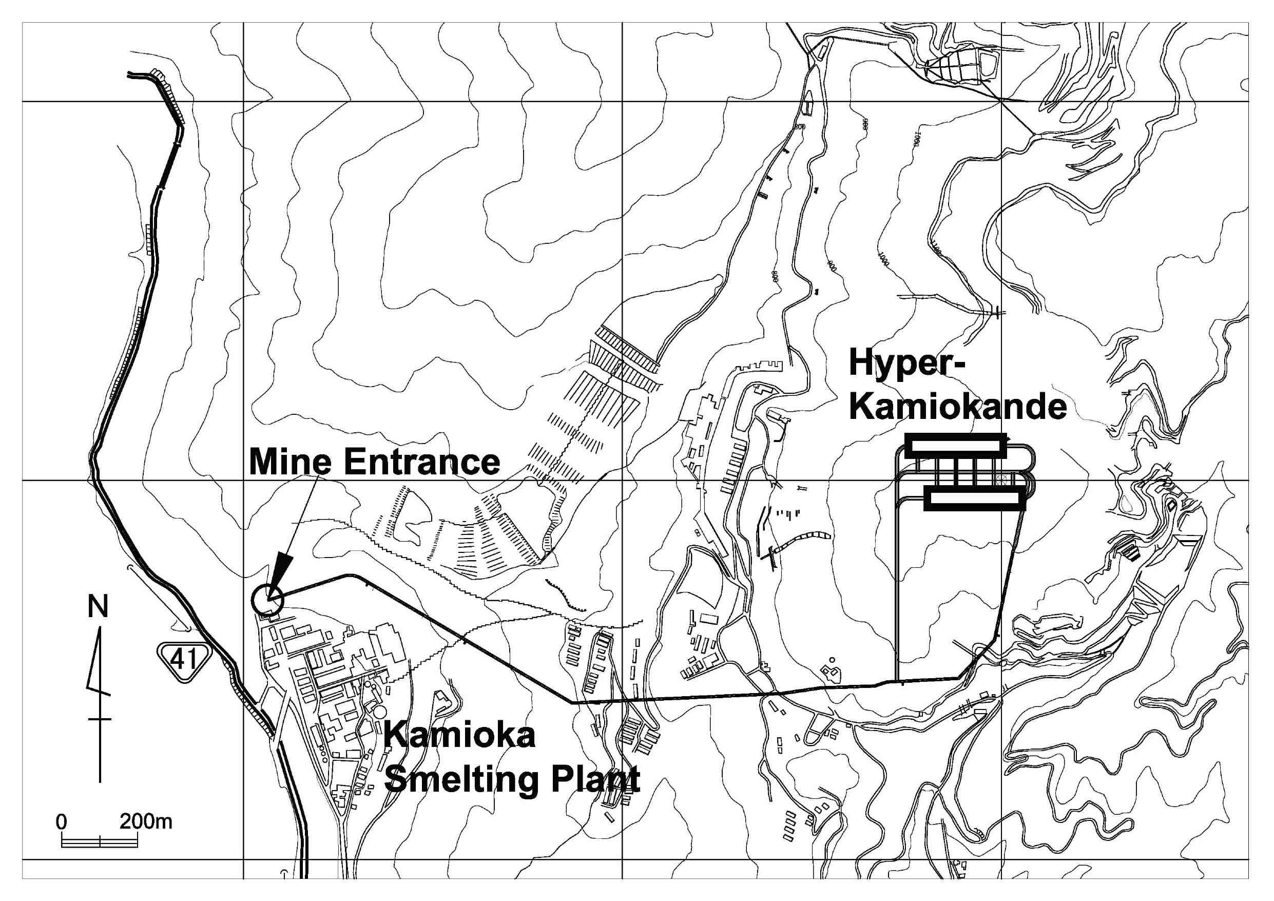 The candidate site map. The site is located 8 km south of the Super-K site as shown in the left panel. The map of the Tochibora mine is shown in the right panel.