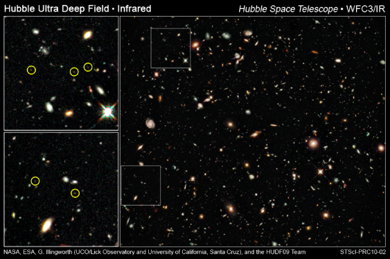 Early galaxies in HST's deepest view of the Universe. The image was taken with the newly installed WFC3/IR camera, with the positions of newly discovered galaxies at