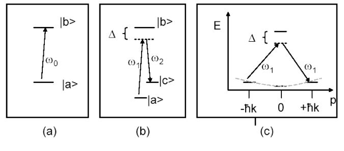 Different schemes used to place atoms in a superposition of momentum states. (a) superposition with a meta-stable state using a