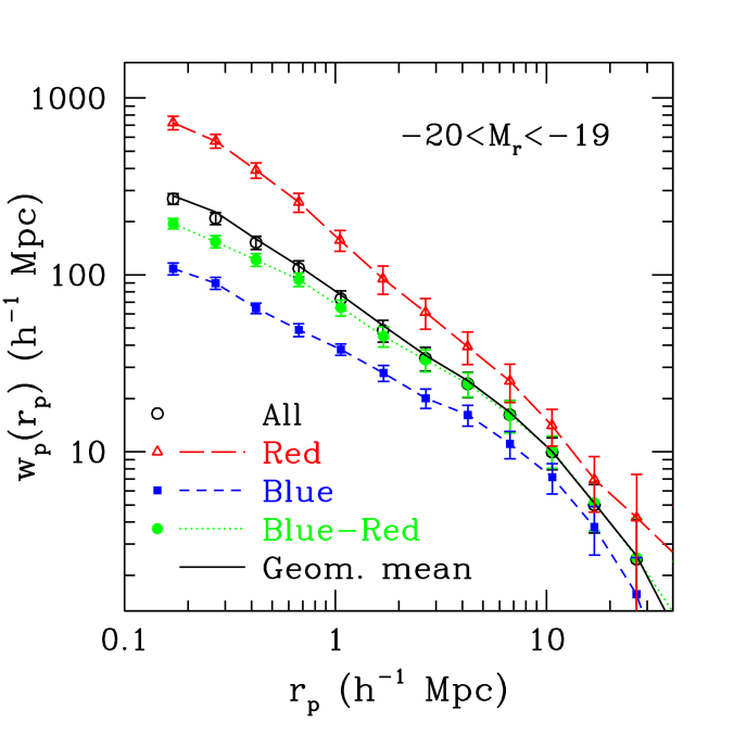 Projected correlation functions of red and blue galaxies in the