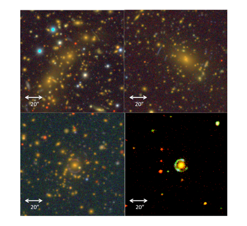 Four examples of known strong lensing systems from DES Science Verification and Year 1 Data.