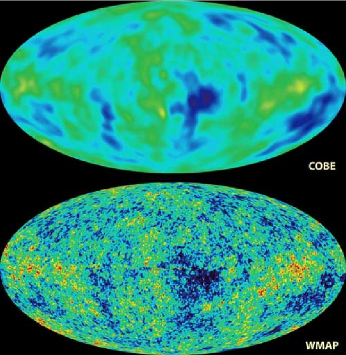 CMB Temperature fluctuations: A comparison between COBE and WMAP. Image from http://map.gsfc.nasa.gov/.