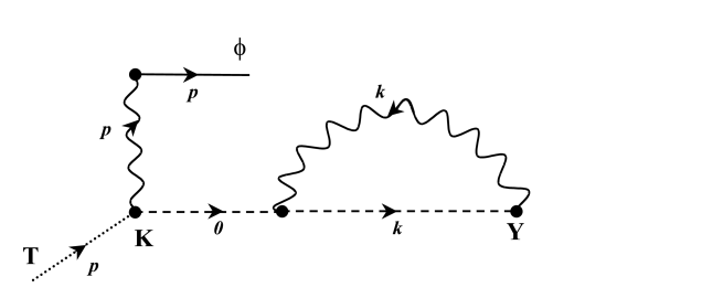 Diagrams corresponding to the first term in the right hand side of Eq.(33). Wavy lines represent gravitons, dashed lines ghosts, dotted lines the source
