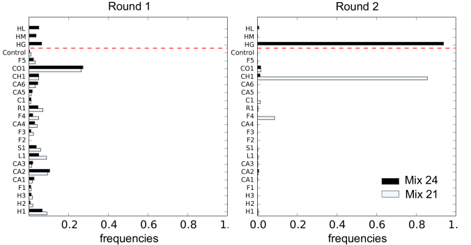 Hierarchy between libraries – Frequencies of the different libraries in two successive rounds of selection against the DNA target. Black bars report selection of all 24 libraries and white bars selection of a subset of 21 libraries, excluding the 3 libraries above the red dotted line. At the second round (right), the population is enriched in sequences from one particular library, the HG library, in contrast to what is observed at the first round (left). The subset of 21 libraries excludes the library dominating the mixture of all 24 libraries, which leads another library, the CH1 library, to dominate. Within the two libraries, a diversity of CDR3 are selected (Figures