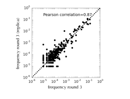Reproducibility – To assay the reproducibility of the experiments, two independent selections of the mixture of 24 libraries were performed against the DNA target and the frequencies of the sequences were compared at the third round: the high correlation between the two results indicates high reproducibility.