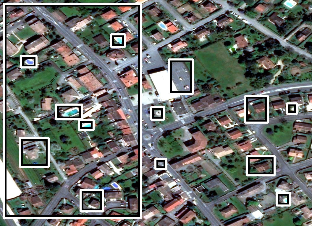 Different challenges in FMOW satellite images: (a)shadow and viewpoint variations, (b)arbitrary weather conditions, (c)inaccurate annotations and (d)scale variations.
