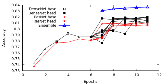 Evaluation of the ensemble accuracy. The first six 6 epochs show the accuracy of the Hydra's body using DenseNet and Resnet. The following epochs show the accuracy for each head separately as well as for the fusion of all heads (ensemble).
