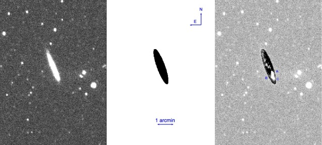 : FUV image of NGC 5022 (left), 2D model of the galaxy (middle), residual of the subtraction of the model (right).