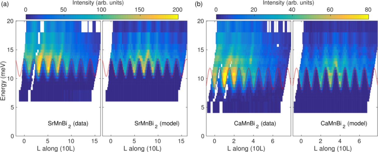 (color online). Out-of-plane dispersion of the magnon spectra of (a) SrMnBi