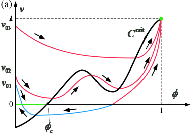 Solution orbits. The blue and red curves are absorbed into the line and point attractors, respectively. (a) Case wherein the nullcline