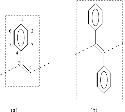 The unit cells of (a) PPA and (b) PDPA. The phenyl rings are rotated with respect to the