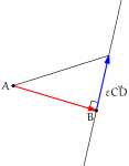 Perpendicular as the shortest route to a line.