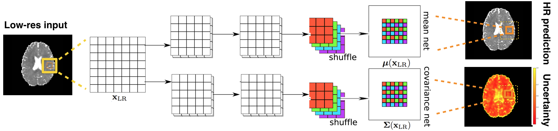 2D illustration of the proposed dual-path architecture which estimates the mean and diagonal covariance of the Gaussian conditional distributions as functions of the input low-resolution subvolume