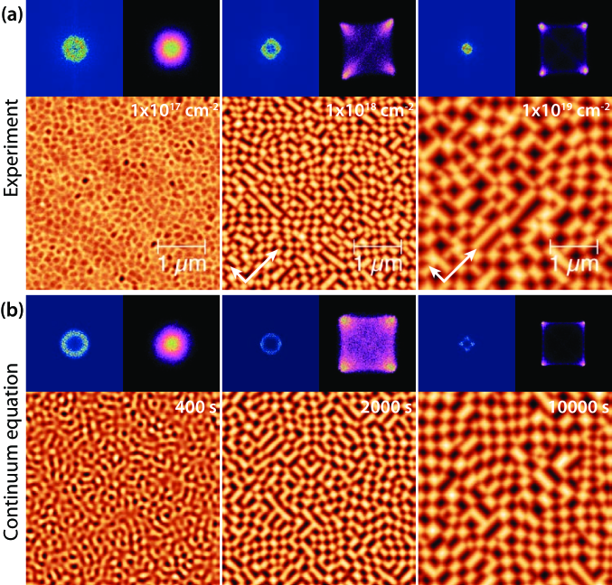 (a) AFM images of Ge (100) surfaces irradiated at