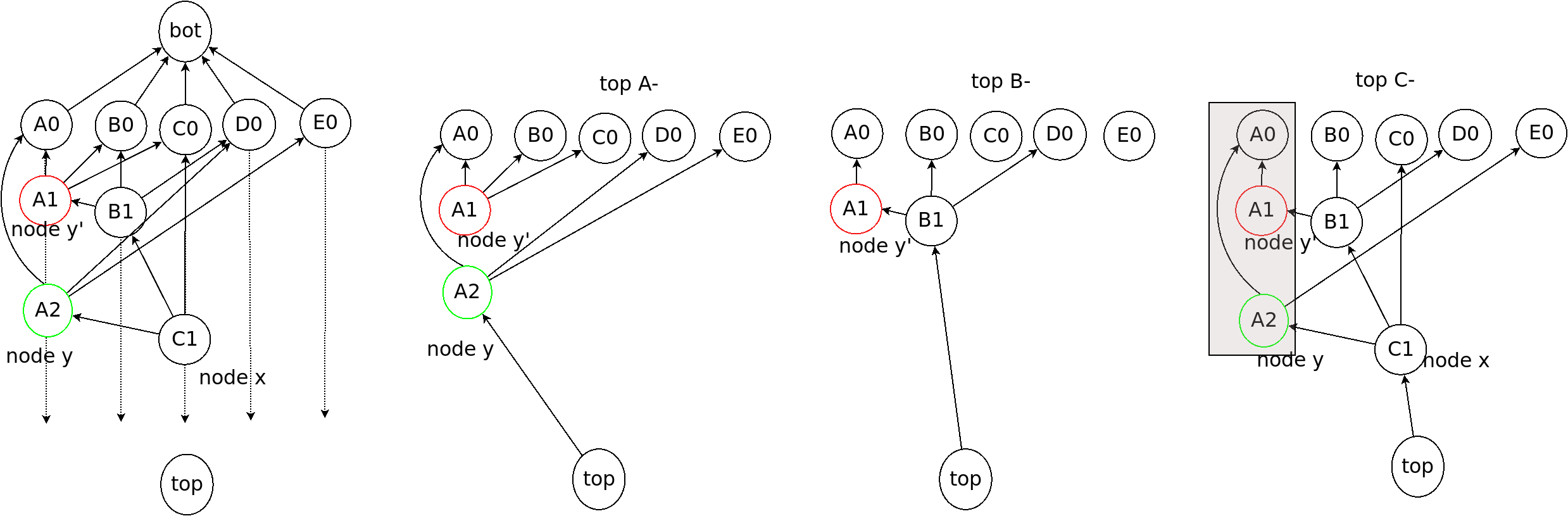 An example of a pair of fork events in an OPERA chain. The fork events are shown in red and green. The OPERA chains from (a) to (d) are different by adding one single event at a time.