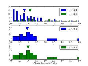 A histogram showing the distributions of cluster mass (extrapolated to the current epoch) for the low and high-redshift subsamples. The median masses are marked with the downward pointing arrows. Note how the median mass of the two distributions differ and how skewed the low redshift subsample is with respect to the high-redshift one.